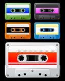 与五颜六色的标签的卡型盒式录音机 免版税库存图片