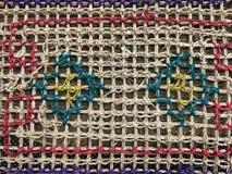 与五颜六色的样式的织品纹理 免版税库存图片