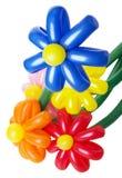 与五颜六色的桔梗花的花束在白色背景 免版税库存图片