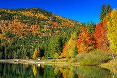 与五颜六色的森林, St阿那湖,特兰西瓦尼亚,罗马尼亚的秋天风景 免版税库存照片