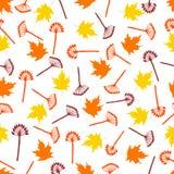 与五颜六色的槭树叶子和分支的无缝的样式在 库存照片