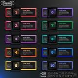 与五颜六色的正方形的传染媒介infographic设计名单 库存照片