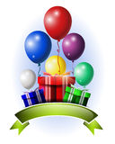 与五颜六色的气球、礼物和空白的标志的假日背景 库存照片
