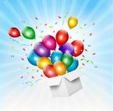 与五颜六色的气球和开放箱子的假日背景 免版税库存图片