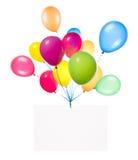 与五颜六色的气球的假日横幅 免版税库存图片