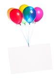 与五颜六色的气球的假日横幅 免版税库存照片
