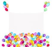 与五颜六色的气球的假日横幅 免版税图库摄影