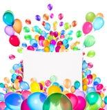 与五颜六色的气球的假日横幅 库存图片