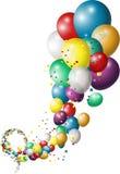 与五颜六色的气球的假日背景 免版税图库摄影