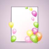 与五颜六色的气球的假日背景 库存图片