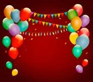 与五颜六色的气球的减速火箭的假日背景 免版税库存图片