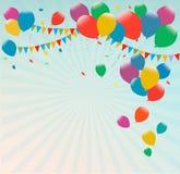 与五颜六色的气球的减速火箭的假日背景 图库摄影