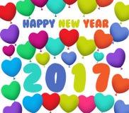 与五颜六色的气球的新年快乐2017年背景 图库摄影