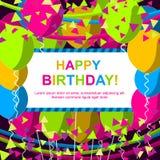 与五颜六色的气球的生日快乐或庆祝卡片 免版税图库摄影