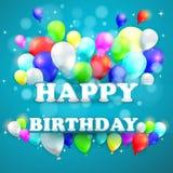 与五颜六色的气球的生日背景 免版税库存图片
