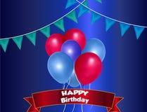 与五颜六色的气球的生日背景 库存图片