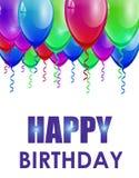 与五颜六色的气球的生日背景 免版税图库摄影