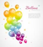 与五颜六色的气球的背景 图库摄影