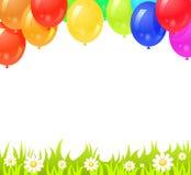 与五颜六色的气球的背景 库存图片