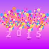 与五颜六色的气球的被创造的2015卡片 库存照片