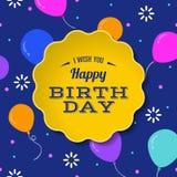 与五颜六色的气球贺卡的生日快乐 库存照片