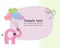 与五颜六色的气球婴儿送礼会贺卡的大象 免版税库存照片