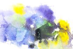 与五颜六色的水彩油漆污点的抽象绘画 免版税库存照片