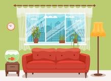 与五颜六色的沙发的客厅舒适内部 免版税图库摄影