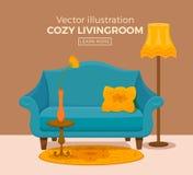 与五颜六色的沙发的客厅舒适内部 库存图片