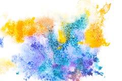 与五颜六色的油漆斑点的抽象绘画 免版税库存图片