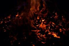 与五颜六色的火焰的美丽的炽热炙热的余烬堆 免版税库存图片