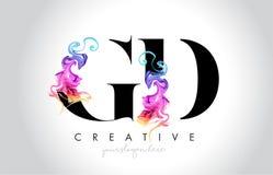 与五颜六色的烟墨水Fl的GD充满活力的创造性的Leter商标设计 向量例证