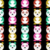 与五颜六色的熊猫的无缝的样式 皇族释放例证