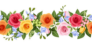 与五颜六色的玫瑰和小苍兰的水平的无缝的背景开花 也corel凹道例证向量 库存图片