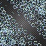与五颜六色的现实泡影的香波泡沫 免版税库存图片