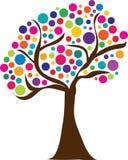 逗人喜爱的春天树商标 库存图片