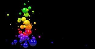 与五颜六色的球形的抽象背景在黑色 图库摄影
