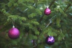 与五颜六色的球装饰品的绿色圣诞树 图库摄影