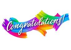 与五颜六色的画笔冲程的祝贺横幅 Congrats传染媒介卡片 成就的祝贺消息 库存例证