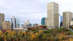 与五颜六色的白杨木的埃德蒙顿,加拿大都市风景在秋天 图库摄影