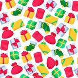与五颜六色的礼物盒的圣诞节无缝的样式 设计要素新年度 免版税库存图片