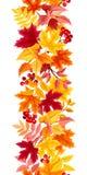 与五颜六色的秋叶的垂直的无缝的背景 也corel凹道例证向量 库存照片