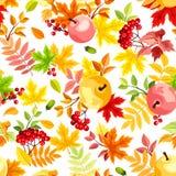 与五颜六色的秋叶的无缝的模式 也corel凹道例证向量 图库摄影