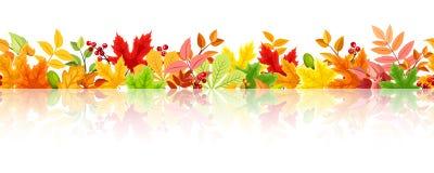 与五颜六色的秋叶的水平的无缝的背景 向量EPS-10 免版税库存照片