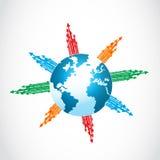 与五颜六色的箭头的抽象世界 库存照片
