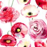 与五颜六色的红色花的无缝的墙纸 图库摄影