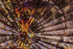 与五颜六色的纸的玻璃抽象背景 以爱好者的形式背景 库存照片