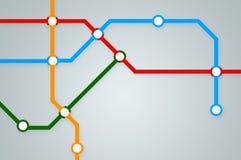 与五颜六色的线的抽象地铁地图 免版税库存照片
