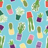 与五颜六色的绿色多汁植物的无缝的样式在紫色,黄色,橙色,桃红色罐有蓝色背景 库存例证