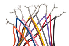 与五颜六色的缆绳的电子连接 图库摄影
